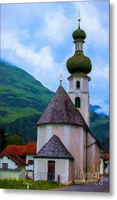 Onion Domed Church - Austria Mountain Village Metal Print