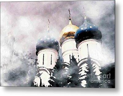 Onion Domes In The Mist Metal Print by Sarah Loft