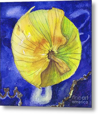 Metal Print featuring the painting Onion On Blue Tile by Susan Herbst