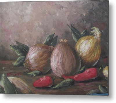 Metal Print featuring the painting Onions And Peppers by Megan Walsh