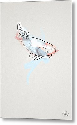 oneline Fish Koi Metal Print by Quibe
