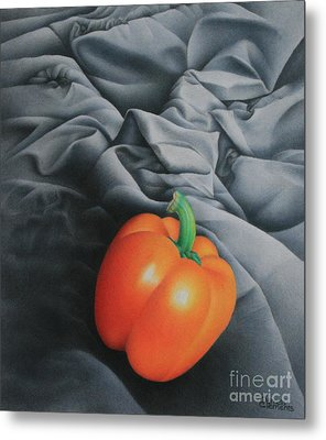Metal Print featuring the painting Only Orange by Pamela Clements