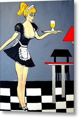 Metal Print featuring the painting Ooolala French Maid  by Nora Shepley