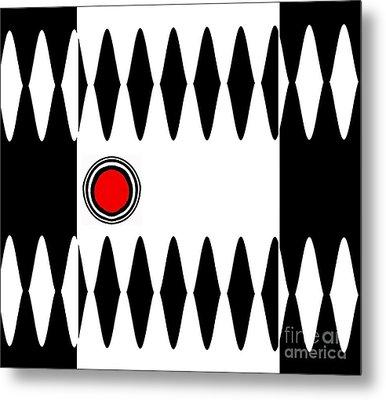 Op Art Black White Red Minimalist Geometric Abstract Print No.277 Metal Print by Drinka Mercep