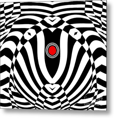 Op Art Geometric Black White Red  Abstract No.383. Metal Print by Drinka Mercep