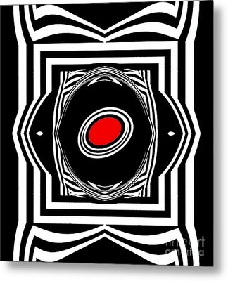Op Art Geometric Black White Red Abstract Print No.33. Metal Print by Drinka Mercep
