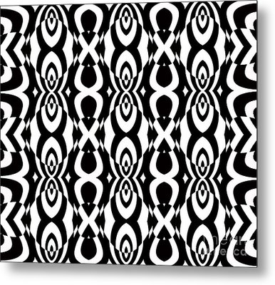 Op Art Pattern Geometric Black White Art No.338. Metal Print by Drinka Mercep