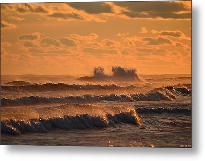 Metal Print featuring the photograph Opal Beach Sunset Colors With Huge Waves by Jeff at JSJ Photography