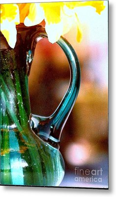 Metal Print featuring the photograph New Orleans Opaque Blue Green Vase by Michael Hoard