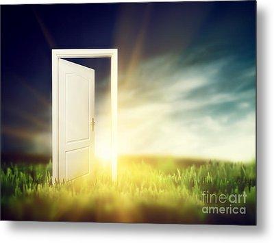 Open Door On The Green Field Metal Print by Michal Bednarek