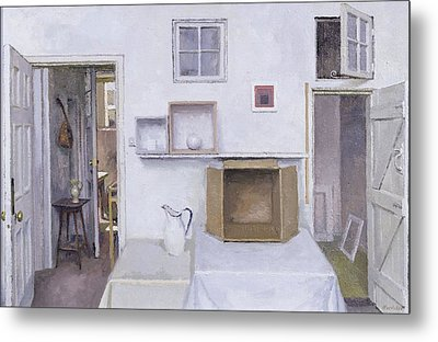 Open Doors - Framed Objects - Albers, 2004 Oil On Canvas Metal Print by Charles E. Hardaker