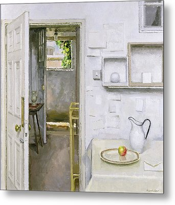 Open Doors With Still Life And Letter, 2004 Oil On Canvas Metal Print by Charles E. Hardaker