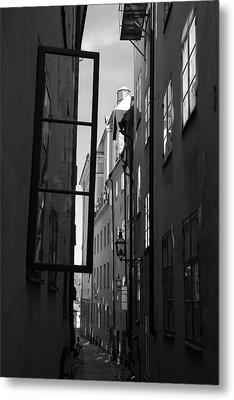Open Window And Graffitis - Monochrome Metal Print by Ulrich Kunst And Bettina Scheidulin