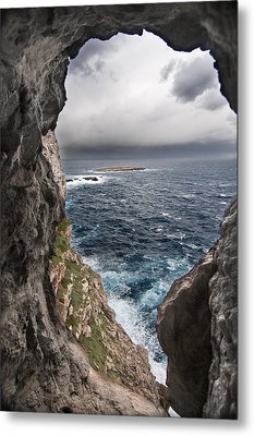 A Natural Window In Minorca North Coast Discover Us An Impressive View Of Sea And Sky - Open Window Metal Print