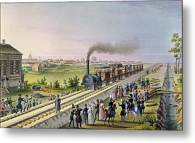 Opening Of The First Railway Line From Tsarskoe Selo To Pavlovsk In 1837 Metal Print by Russian School