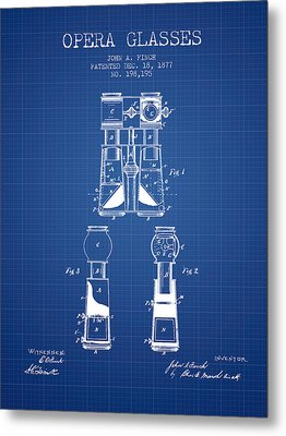 Opera Glasses Patent From 1877 - Blueprint Metal Print by Aged Pixel