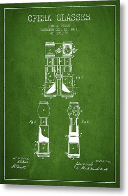 Opera Glasses Patent From 1877 - Green Metal Print by Aged Pixel