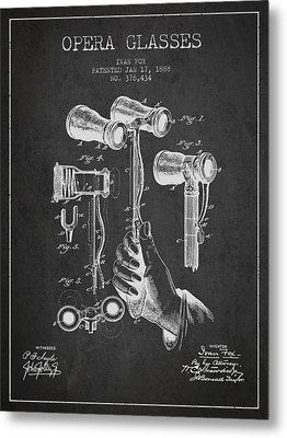 Opera Glasses Patent From 1888 - Dark Metal Print by Aged Pixel
