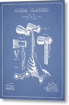 Opera Glasses Patent From 1888 - Light Blue Metal Print by Aged Pixel