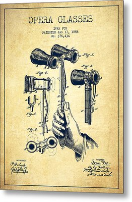 Opera Glasses Patent From 1888 - Vintage Metal Print by Aged Pixel