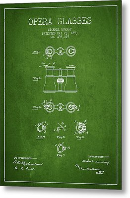 Opera Glasses Patent From 1893 - Green Metal Print by Aged Pixel