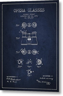 Opera Glasses Patent From 1893 - Navy Blue Metal Print by Aged Pixel