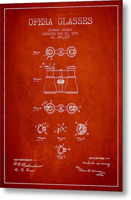 Opera Glasses Patent From 1893 - Red Metal Print by Aged Pixel