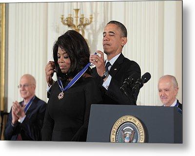 Oprah Winfrey Medal Of Freedom Metal Print by Douglas Adams