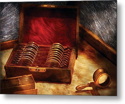 Optician - A Box Of Occulars  Metal Print by Mike Savad