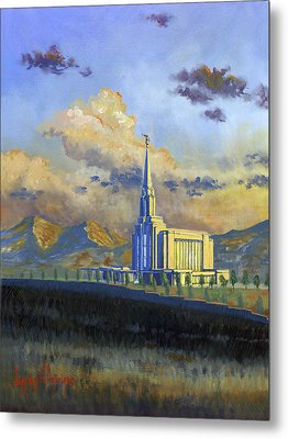 Oquirrh Mountain Temple Metal Print by Jeff Brimley