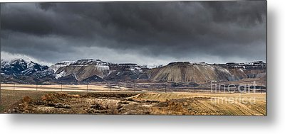 Oquirrh Mountains Winter Storm Panorama 2 - Utah Metal Print