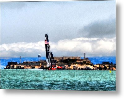 Oracle Team Usa And Alcatraz Metal Print by Michelle Calkins