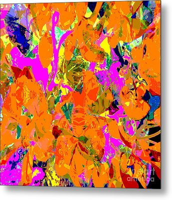 Orange Abstract Metal Print by Barbara Moignard