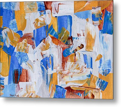 Metal Print featuring the painting Orange And Blue by Heidi Smith