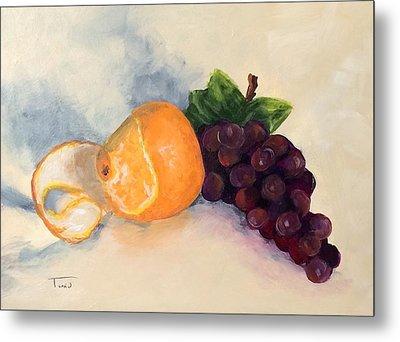 Orange And Grapes Metal Print