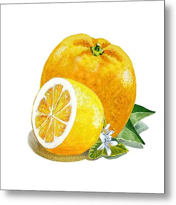 Orange And Lemon Citrus Bunch Metal Print by Irina Sztukowski