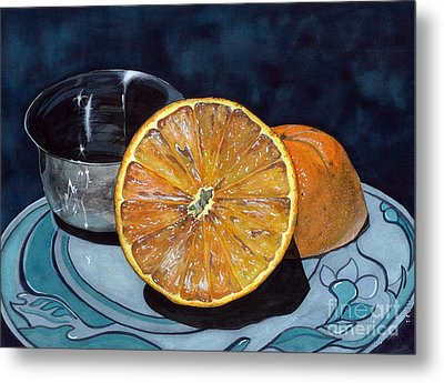 Metal Print featuring the painting Orange And Silver by Barbara Jewell
