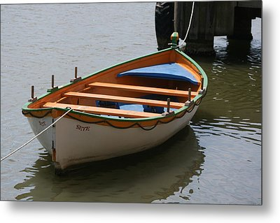 Orange And White  Boat  Metal Print