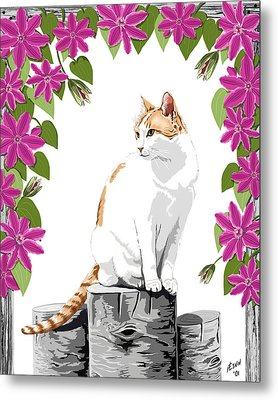 Orange And White Cat And Clematis Metal Print by Artellus Artworks