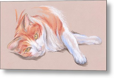 Orange And White Tabby Cat With Gold Eyes Metal Print