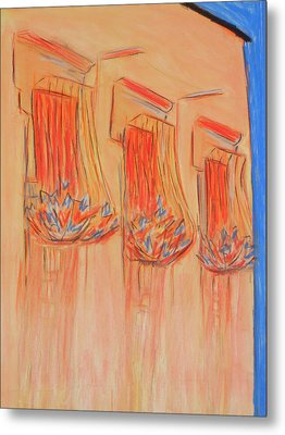 Orange Balcony Metal Print by Marcia Meade