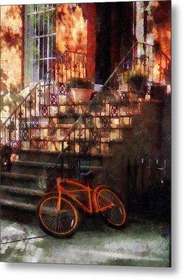 Orange Bicycle By Brownstone Metal Print by Susan Savad