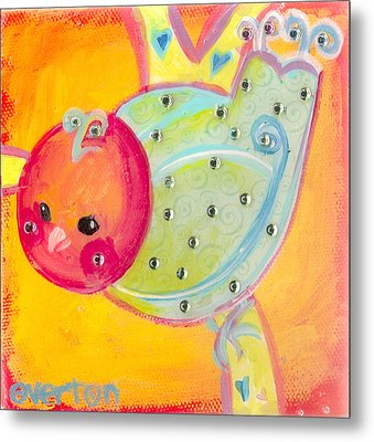 Orange Birdy Metal Print by Shelley Overton
