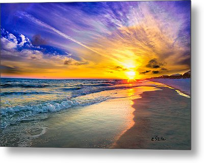 Orange Blue Saturated Sunset-pensacola Beach-bright Sun Metal Print