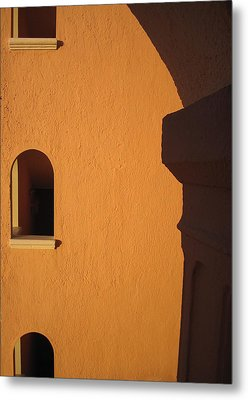 Metal Print featuring the photograph Orange Building With Archway by Mary Bedy