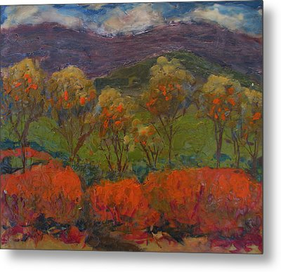 Orange Bushes Metal Print
