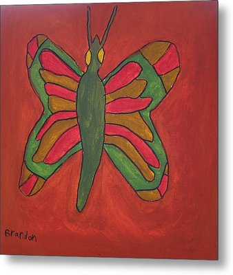 Metal Print featuring the painting Orange Butterfly by Artists With Autism Inc