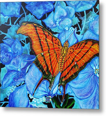 Metal Print featuring the painting Orange Butterfly by Debbie Chamberlin