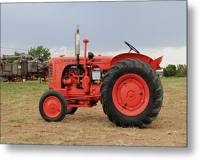 Orange Case Tractor Metal Print