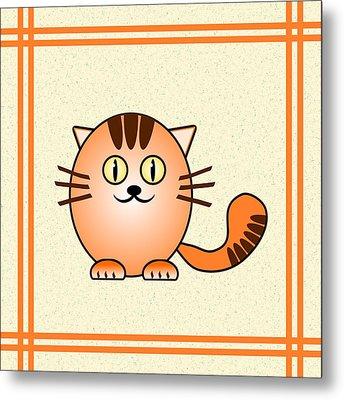Orange Cat - Animals - Art For Kids Metal Print